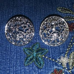 SARAH COVENTRY SILVER CLIP ON EARRINGS